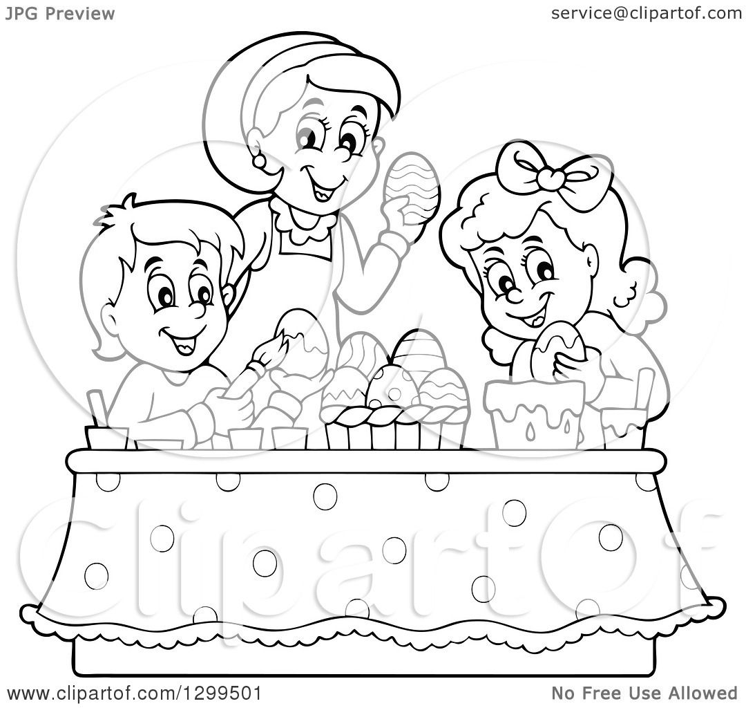Clipart Of A Black And White Mom And Children Decorating