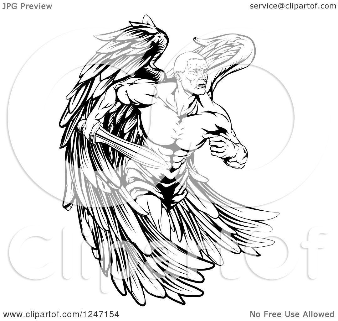 Clipart Of A Black And White Muscular Male Guardian Angel