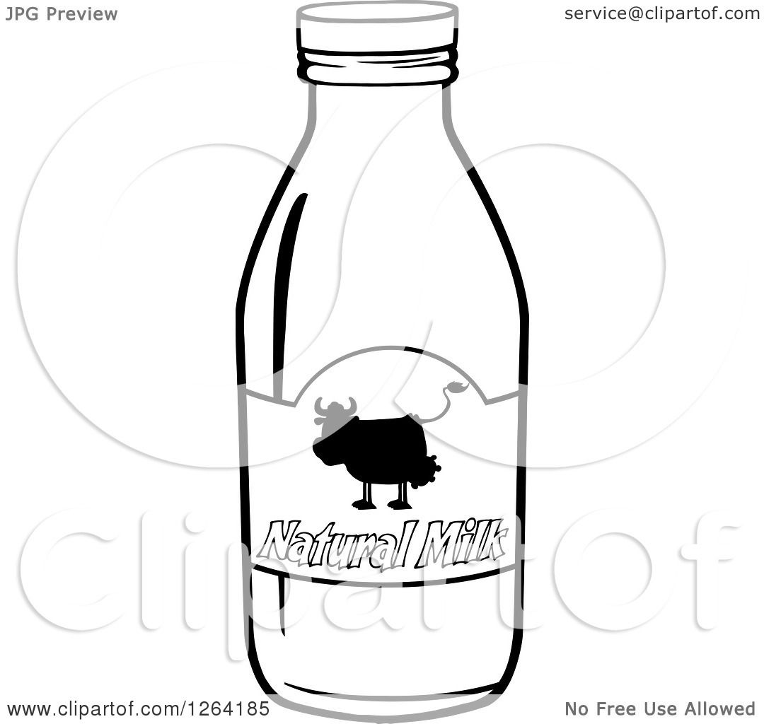 Clipart Of A Black And White Natural Milk Bottle