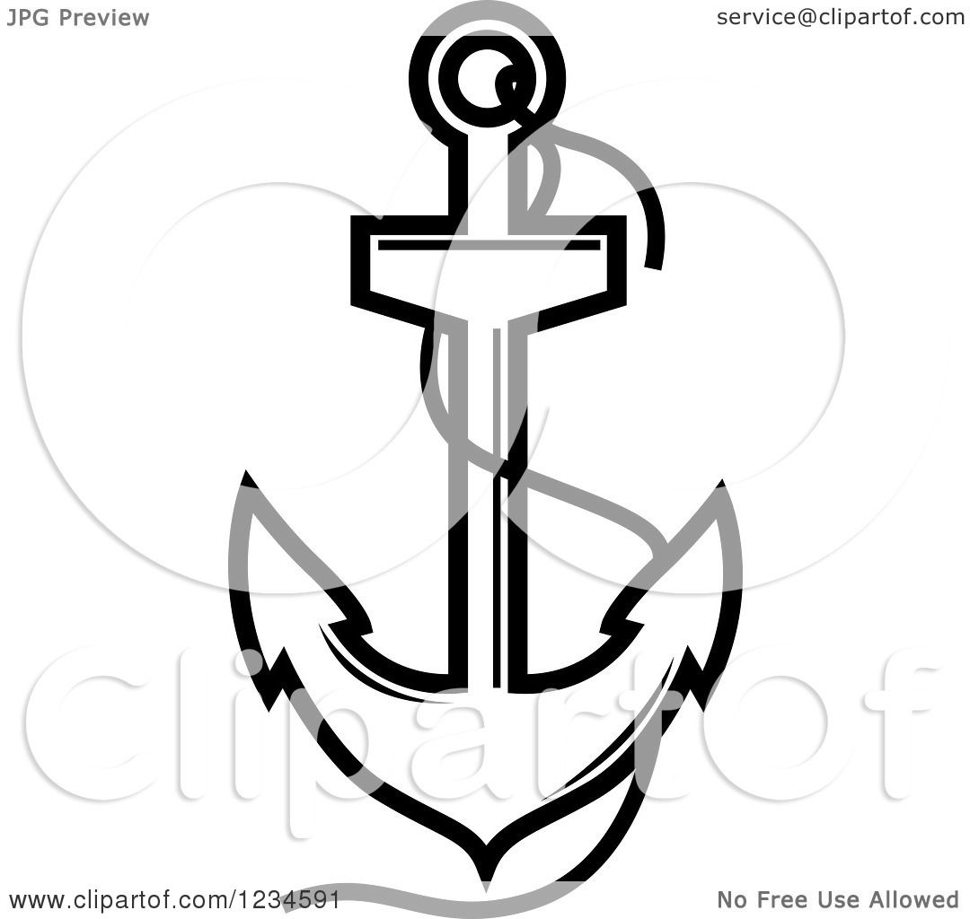 Clipart Of A Black And White Nautical Anchor And Rope