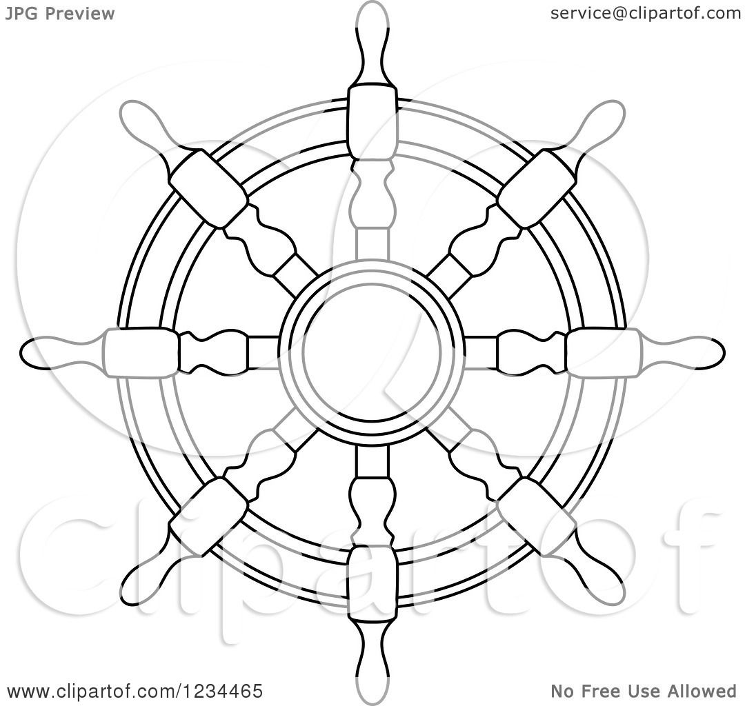 Clipart Of A Black And White Nautical Ship Helm Steering