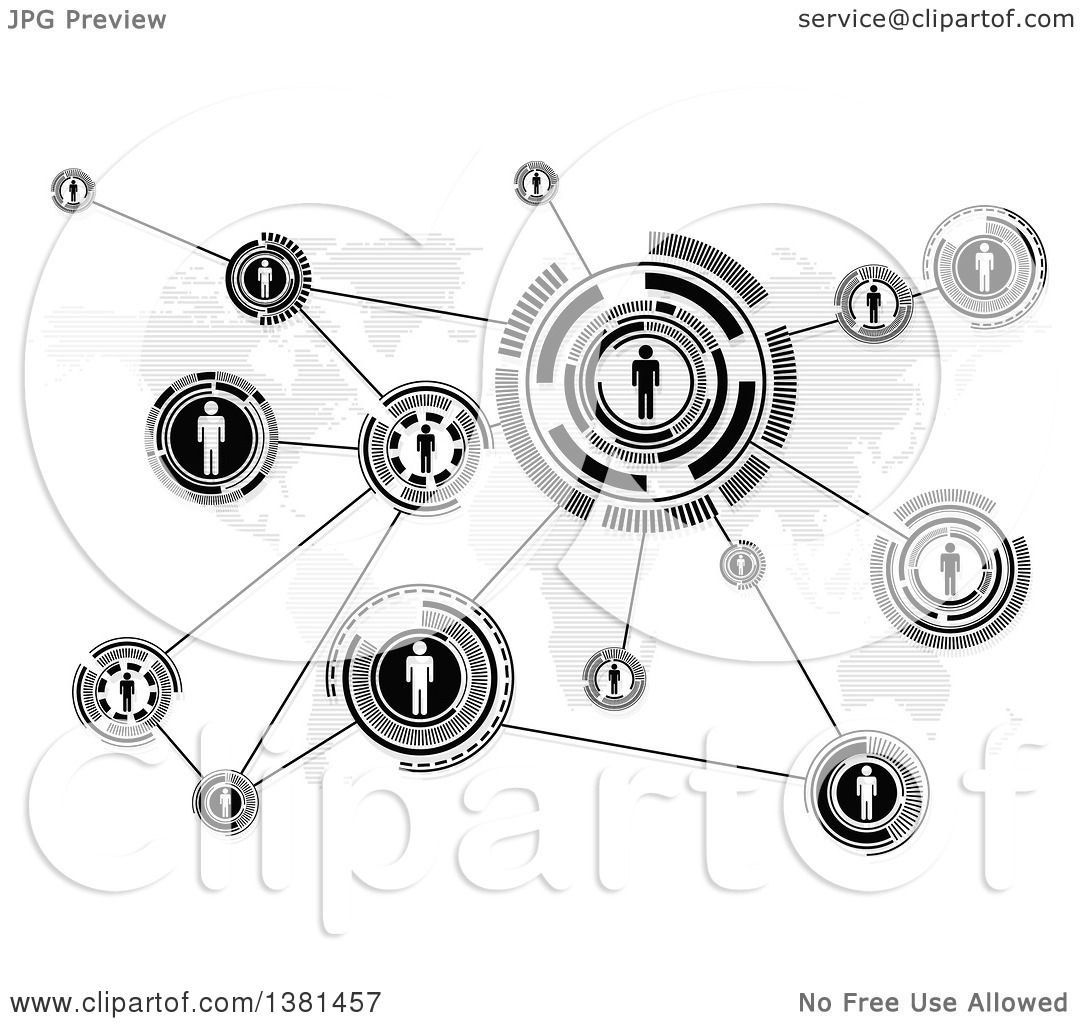 Clipart Of A Black And White Network Of People Socializing