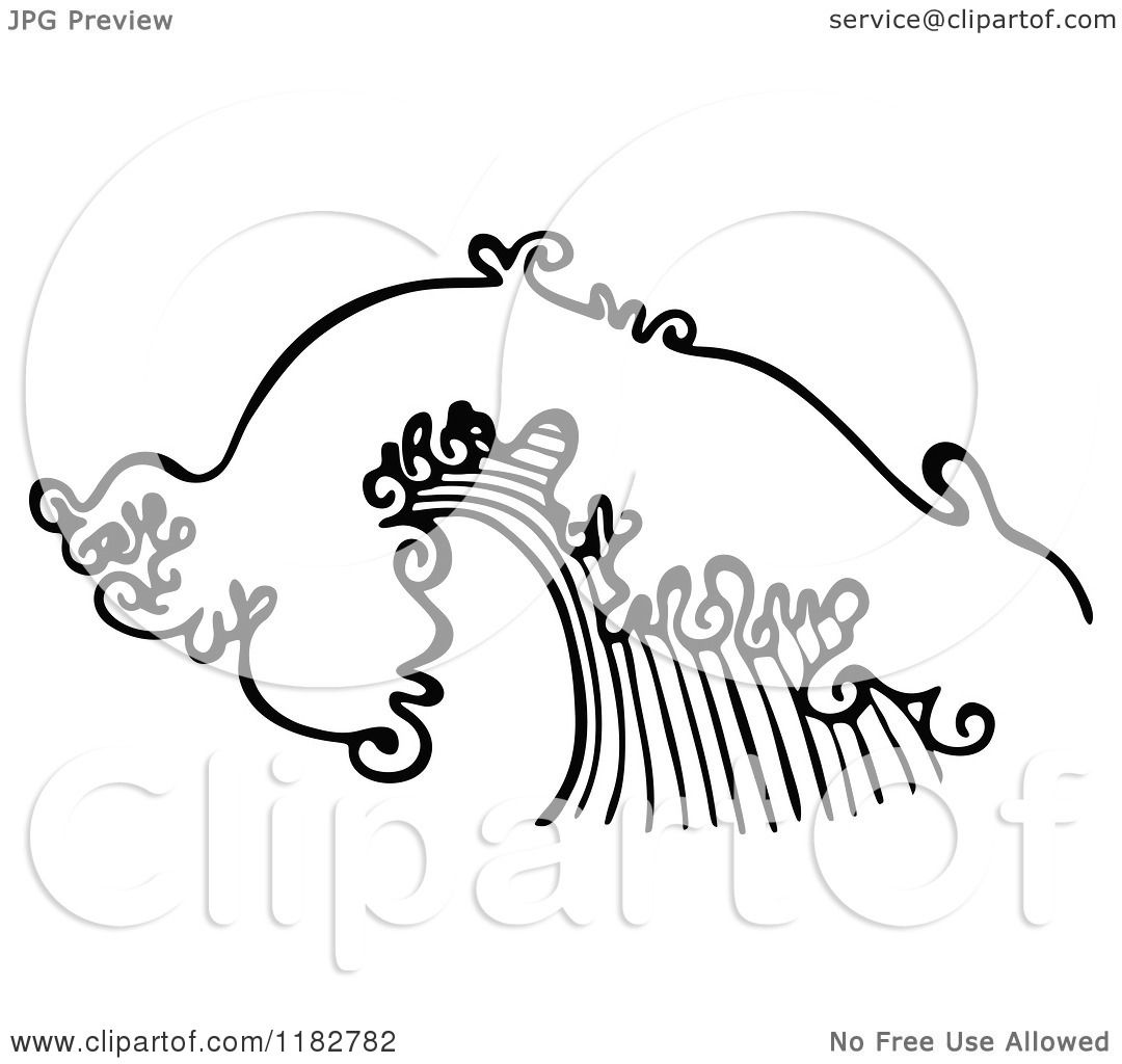 Clipart Of A Black And White Ocean Wave