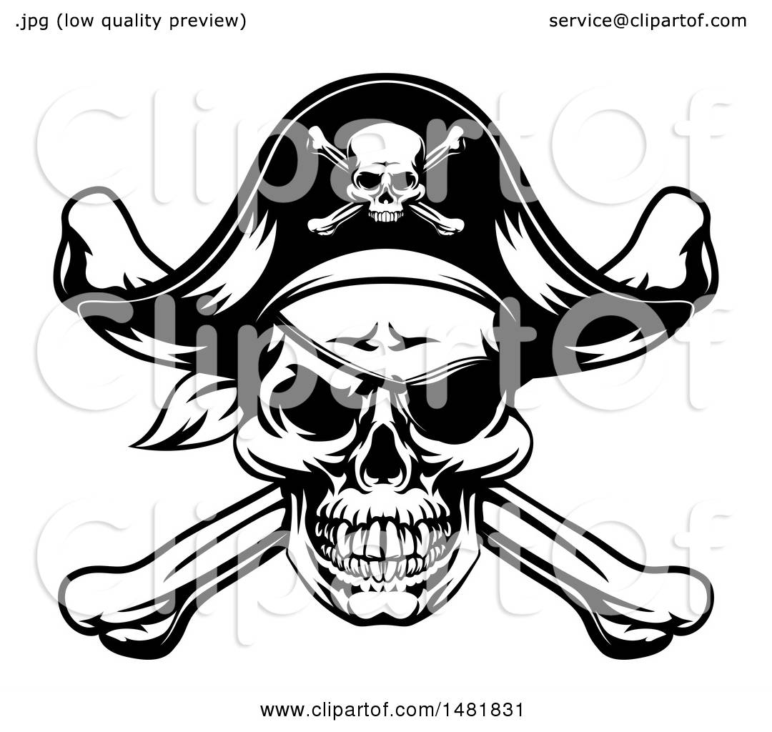 Clipart Of A Black And White Oirate Skull And Crossbones