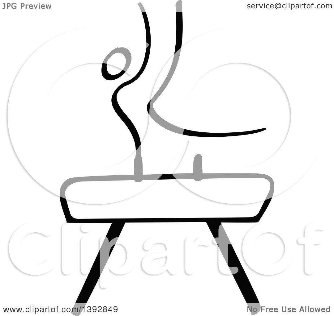 Clipart Of A Black And White Olympic Gymnast Stick Man
