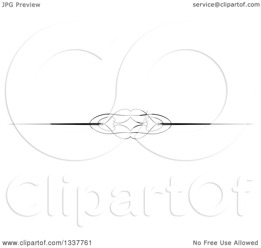 Clipart Of A Black And White Ornate Lips Rule Page Border