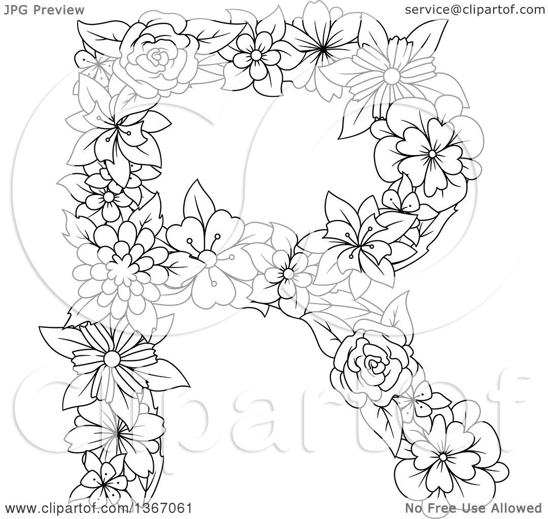 Clipart Of A Black And White Outline Floral Uppercase