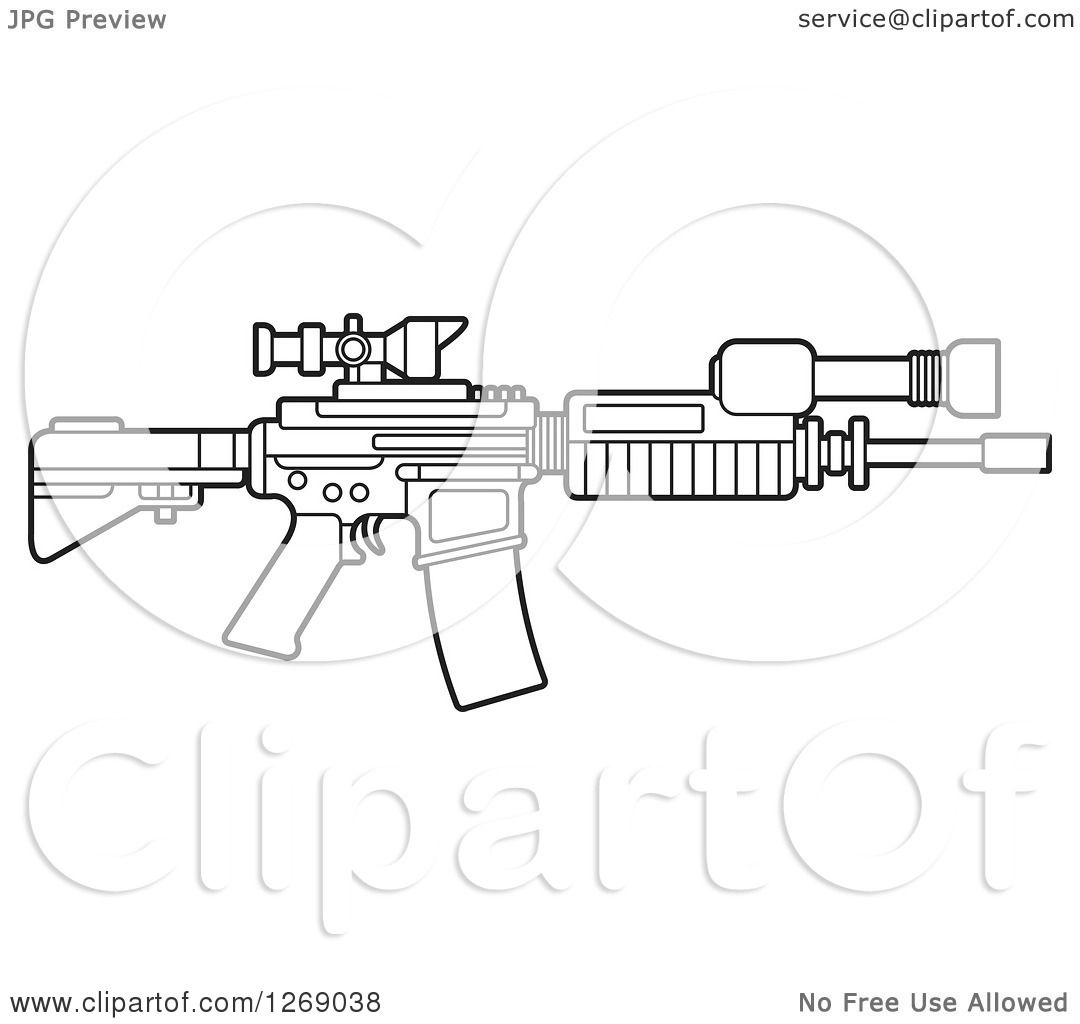 Clipart Of A Black And White Outlined Assault Rifle With A
