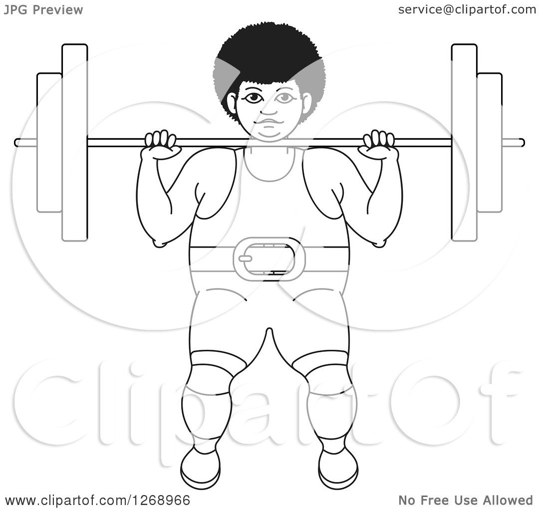 Clipart Of A Black And White Outlined Bodybuilder Woman