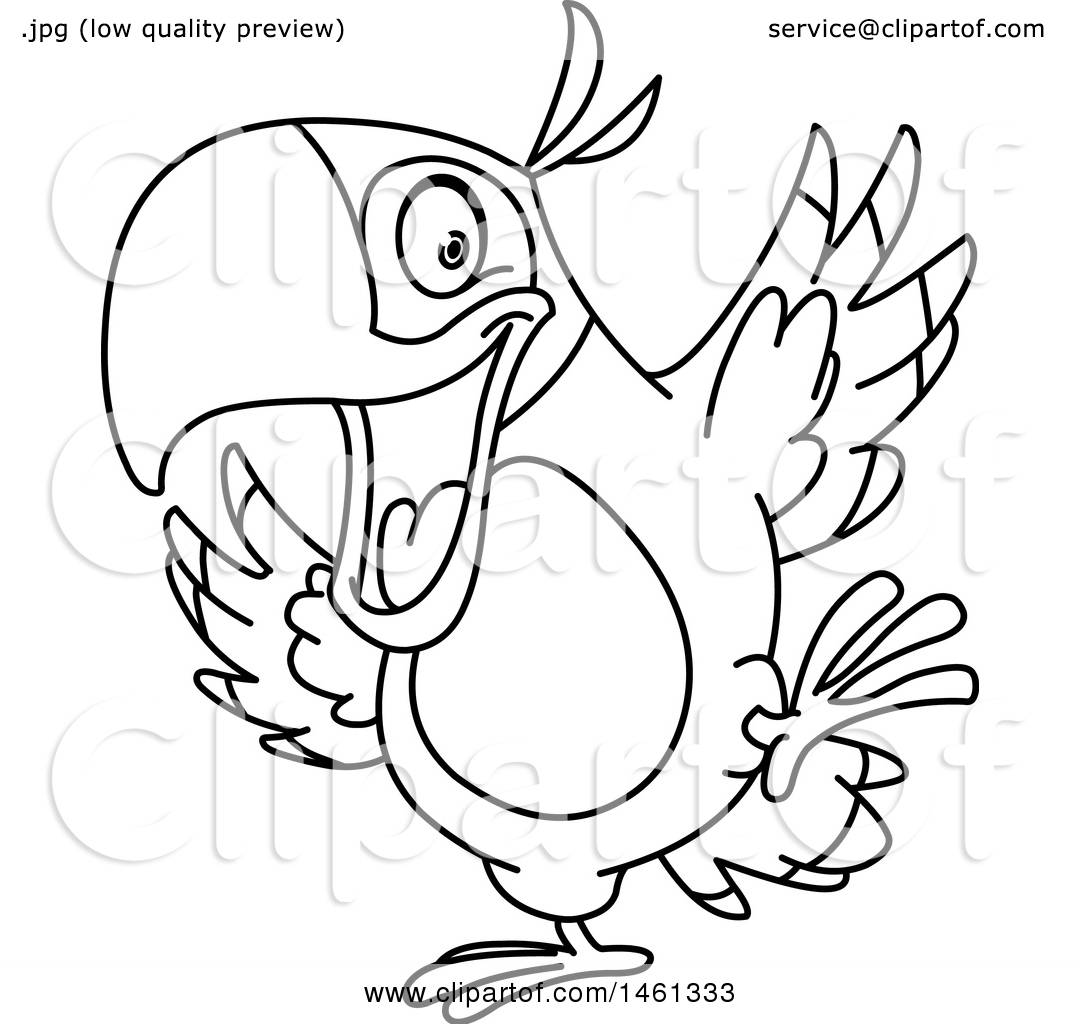 Clipart Of A Black And White Parrot Dancing