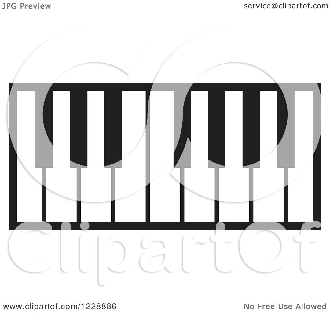 Clipart Of A Black And White Piano Keyboard Icon