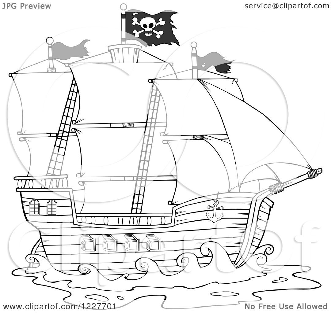Clipart Of A Black And White Pirate Ship