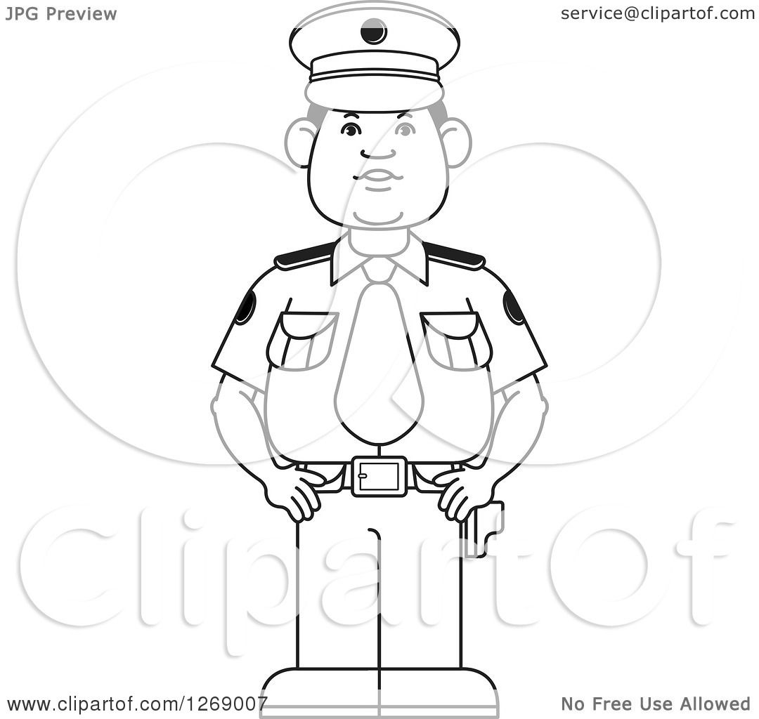 Clipart Of A Black And White Police Man Standing In