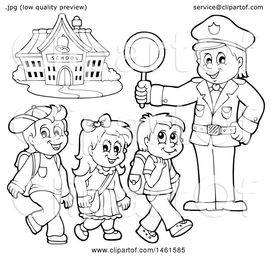 Clipart Of A Black And White Police Officer Holding A Sign