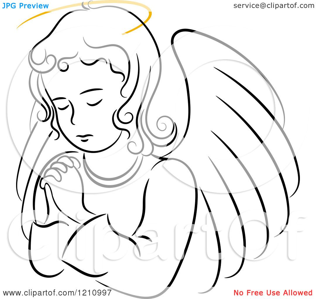 Clipart Of A Black And White Praying Angel Girl With A