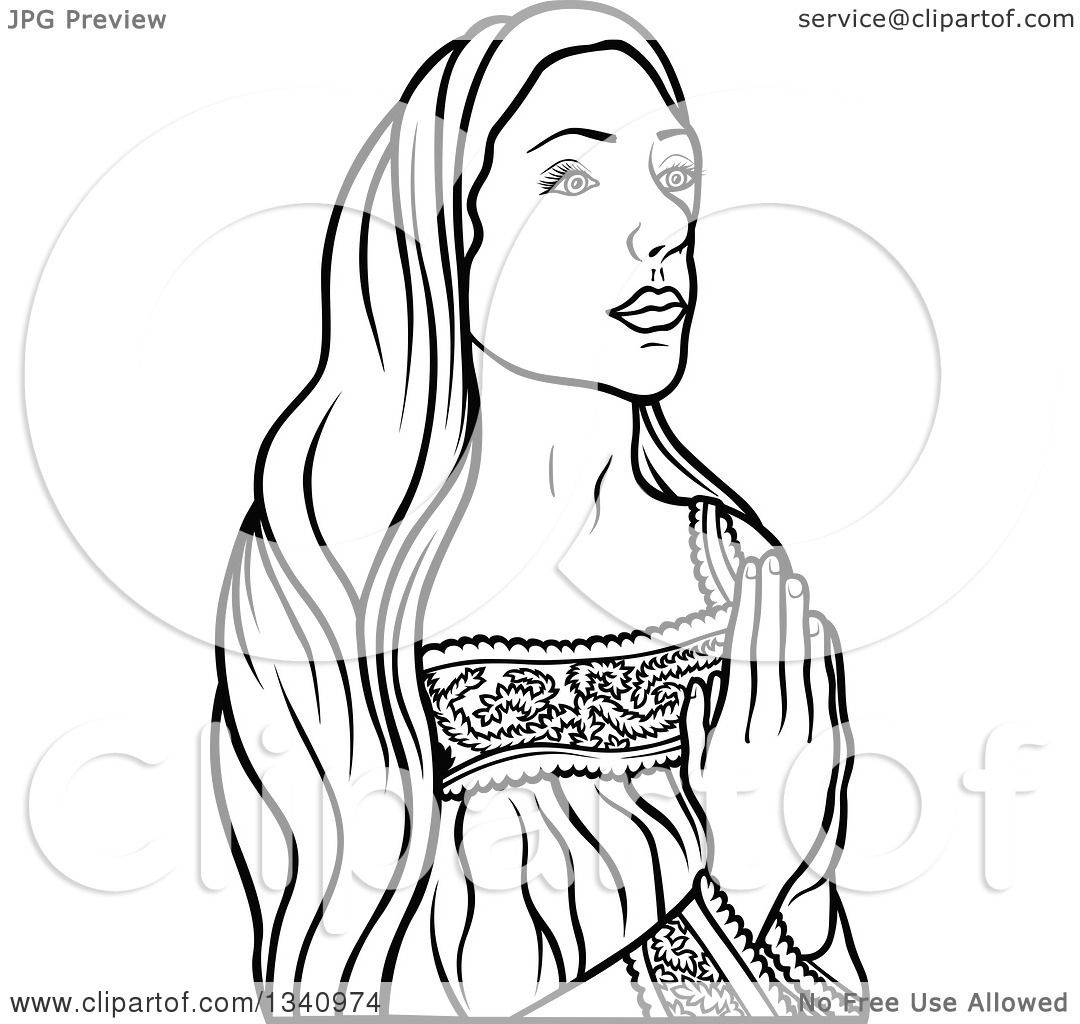 Clipart Of A Black And White Praying Virgin Mary