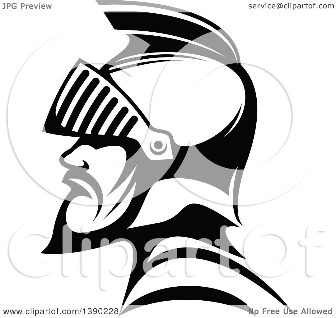 Clipart Of A Black And White Profiled Me Val Knight