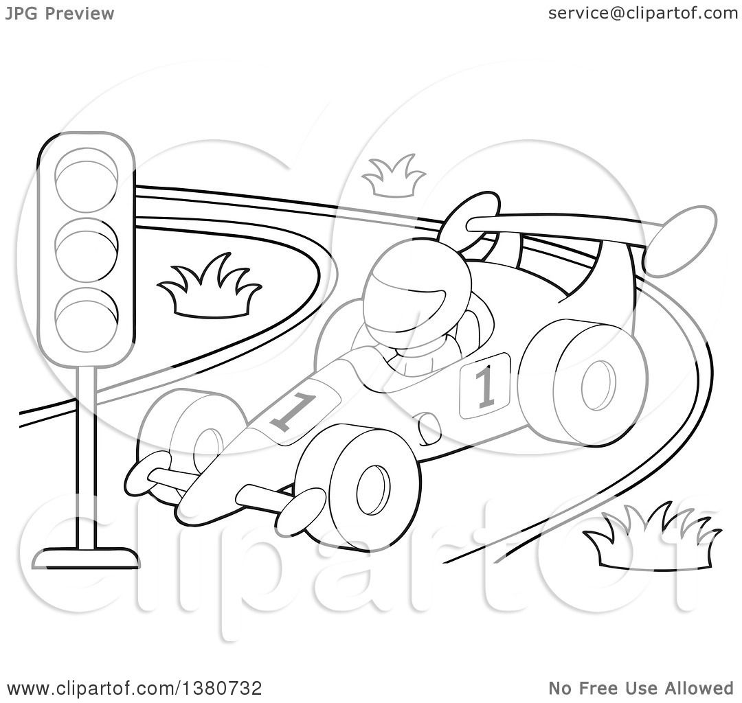 Clipart Of A Black And White Race Car Driver In A Car