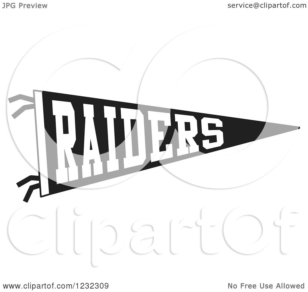 Clipart Of A Black And White Raiders Team Pennant Flag