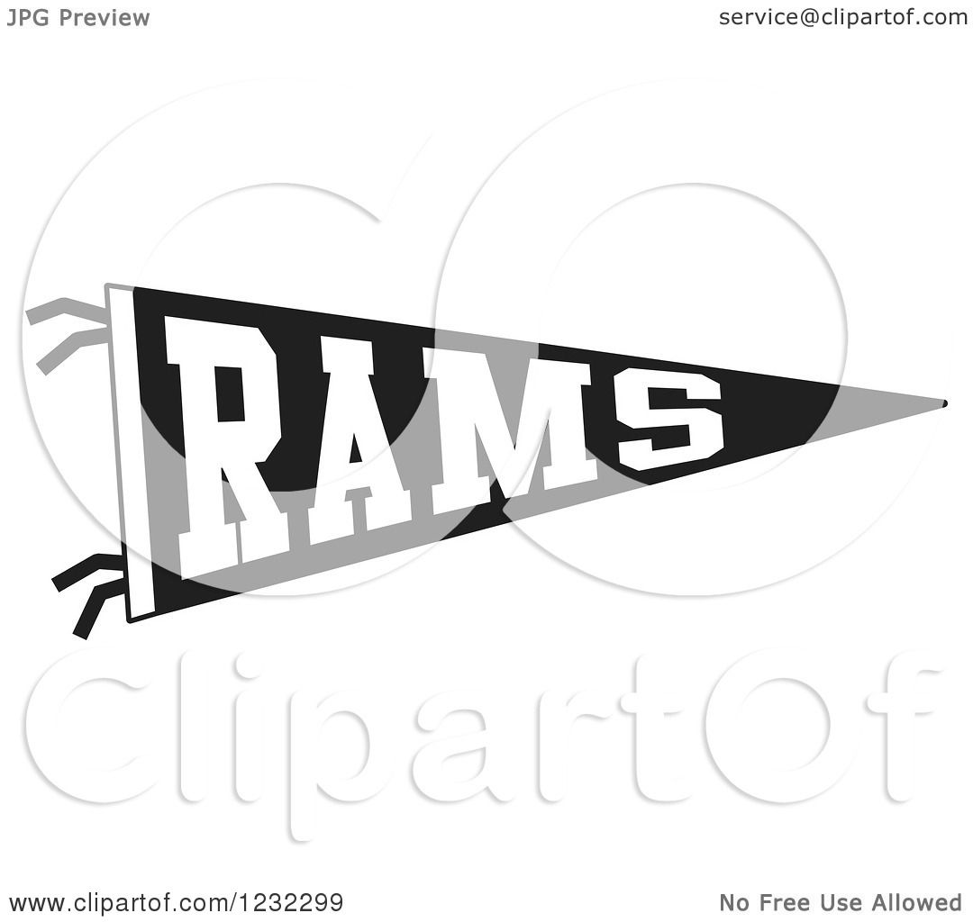 Clipart Of A Black And White Rams Team Pennant Flag