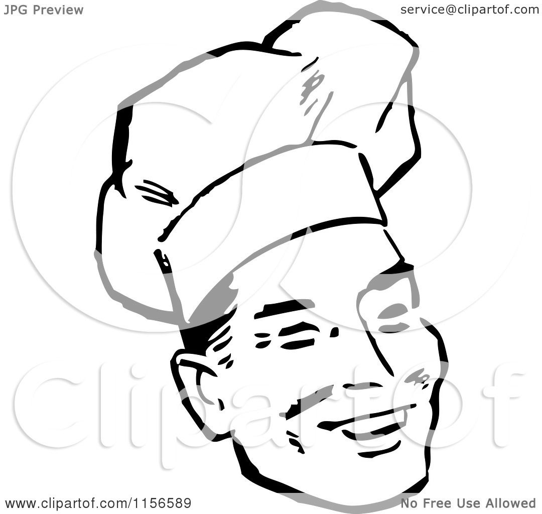 Clipart Of A Black And White Retro Male Chef Smiling