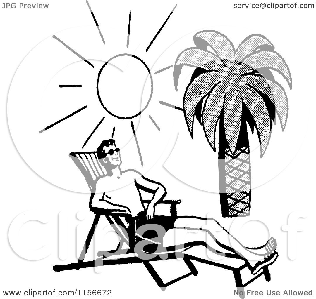 Clipart Of A Black And White Retro Man Sun Bathing On A