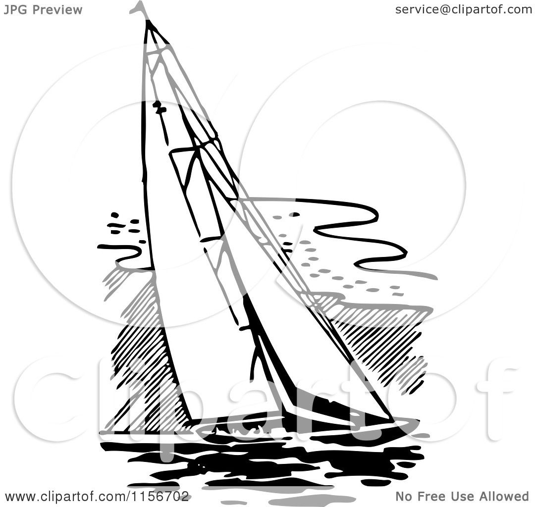 Clipart Of A Black And White Retro Sailing Boat