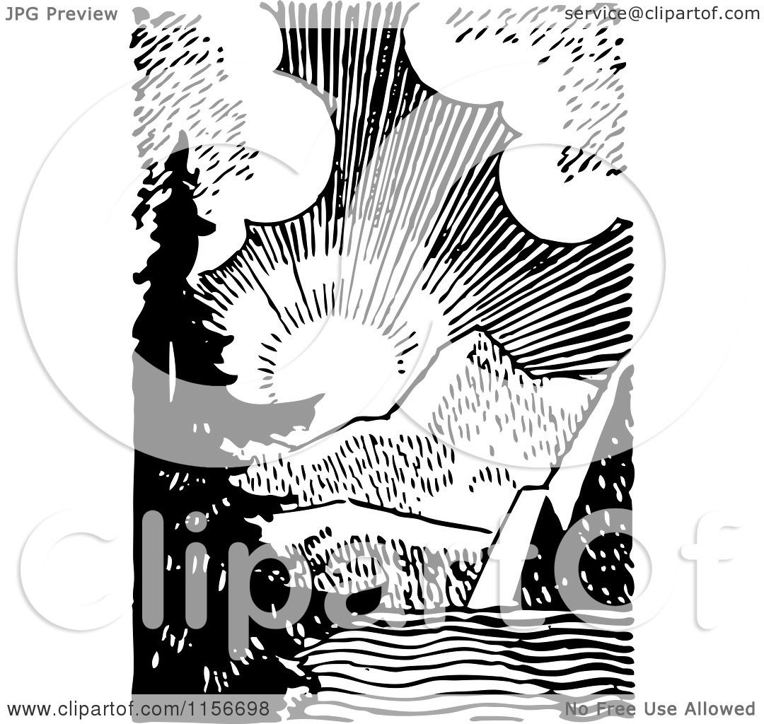 Clipart Of A Black And White Retro Sunrise Over Mountains