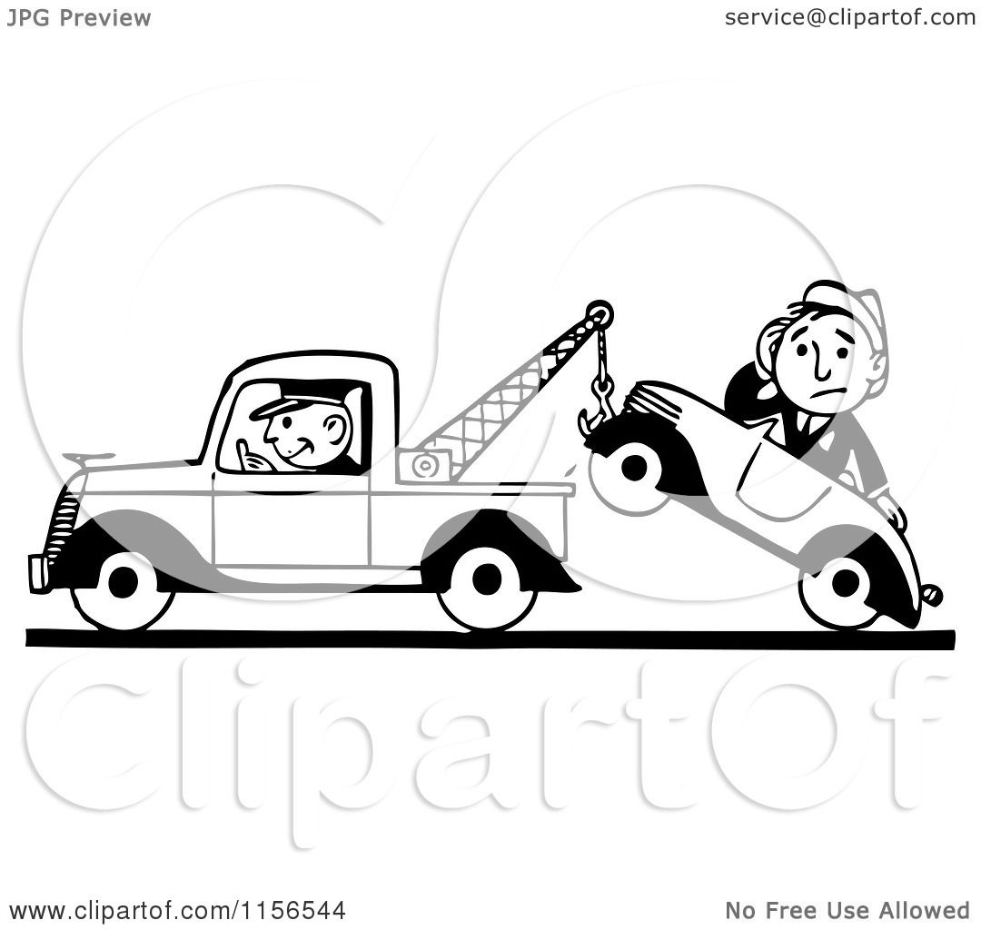 Clipart Of A Black And White Retro Tow Truck Driver And