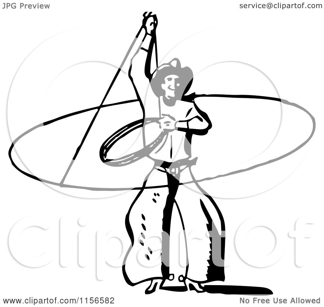 Clipart Of A Black And White Retro Western Cowboy Swinging