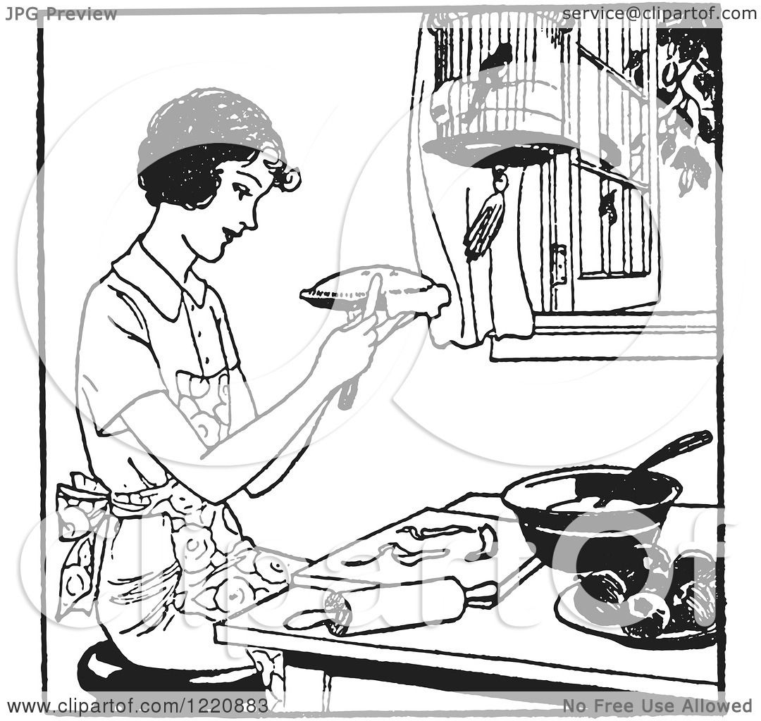 Clipart Of A Black And White Retro Woman Making Apple Pie