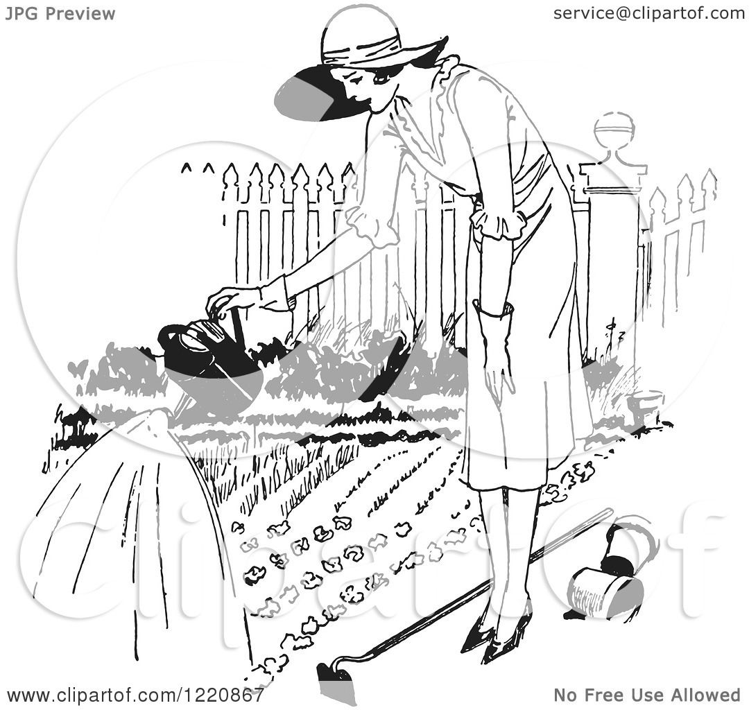 Clipart Of A Black And White Retro Woman Watering A Garden