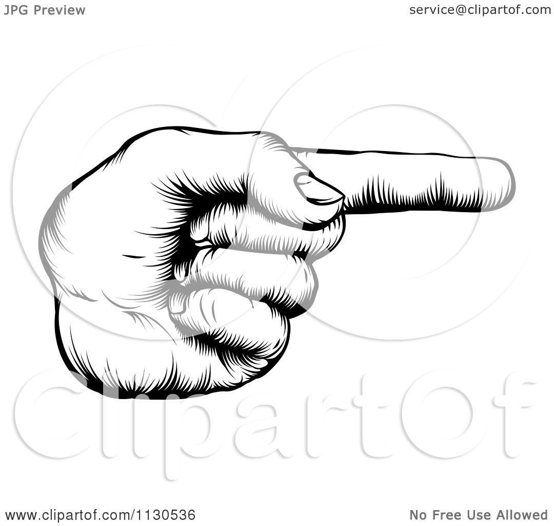 Clipart Of A Black And White Retro Woodcut Hand Pointing A