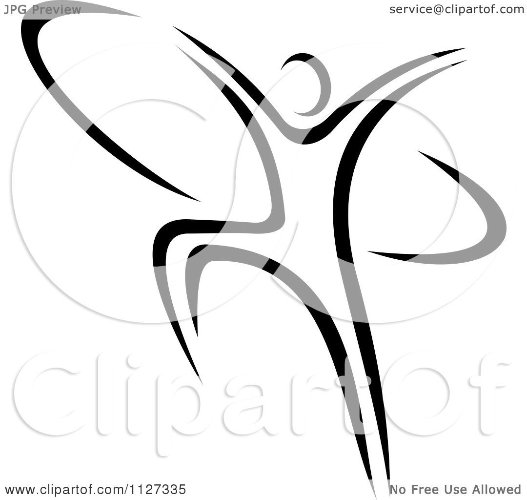 Clipart Of A Black And White Ribbon Dancer Gymnast