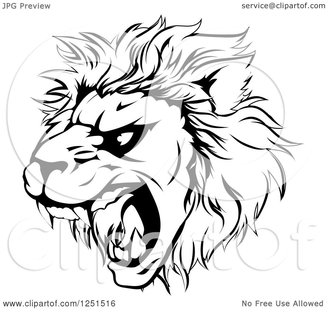 Clipart Of A Black And White Roaring Aggressive Lion