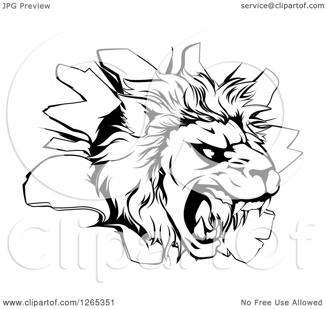 Clipart Of A Black And White Roaring Lion Head Breaking