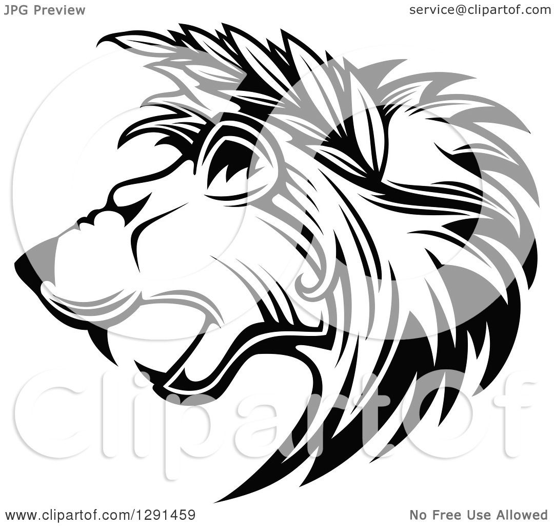 Clipart Of A Black And White Roaring Lion Head In Profile