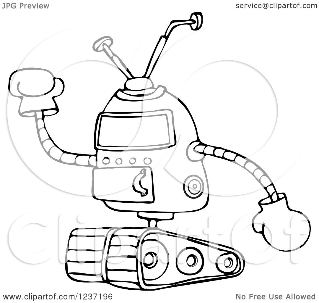 Clipart Of A Black And White Robot Holding Up A Gloved