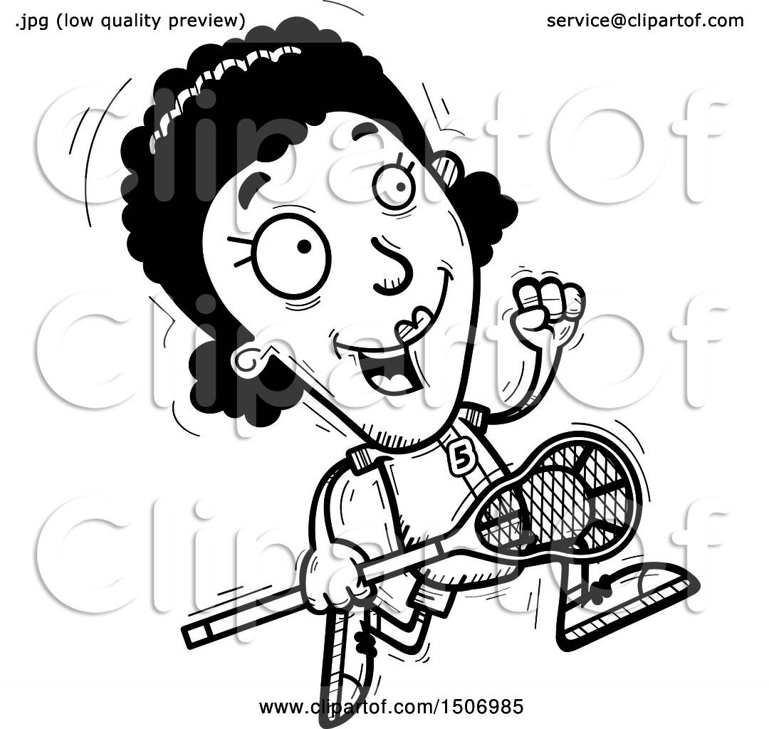 Clipart Of A Black And White Running Black Female Lacrosse