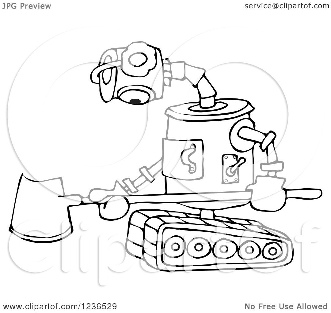 Clipart Of A Black And White Sad Robot With A Snow Shovel