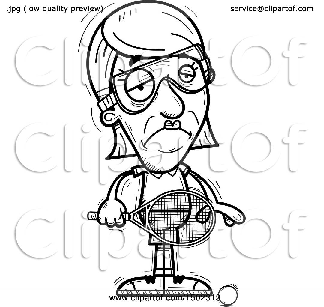 Clipart Of A Black And White Sad Senior Woman Racquetball