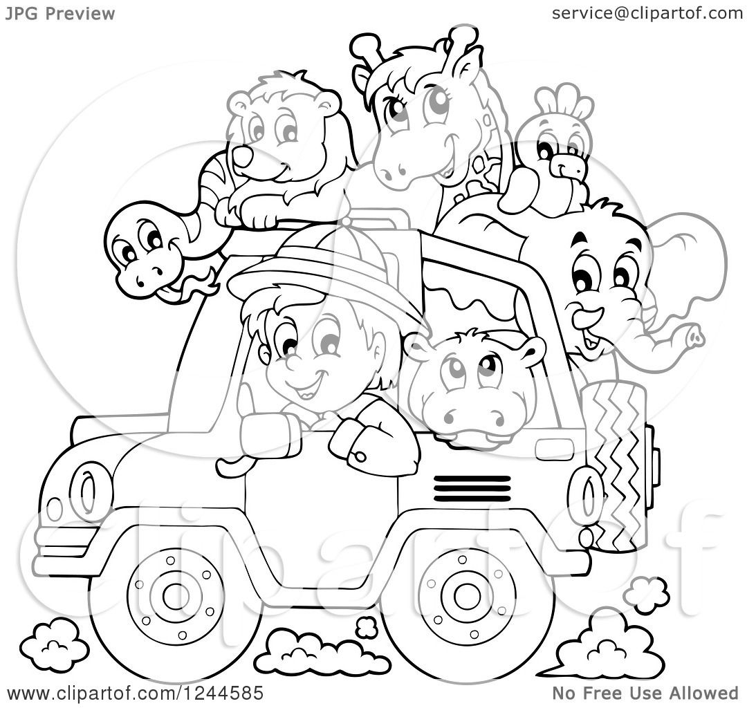 Clipart Of A Black And White Safari Boy Driving A Jeep