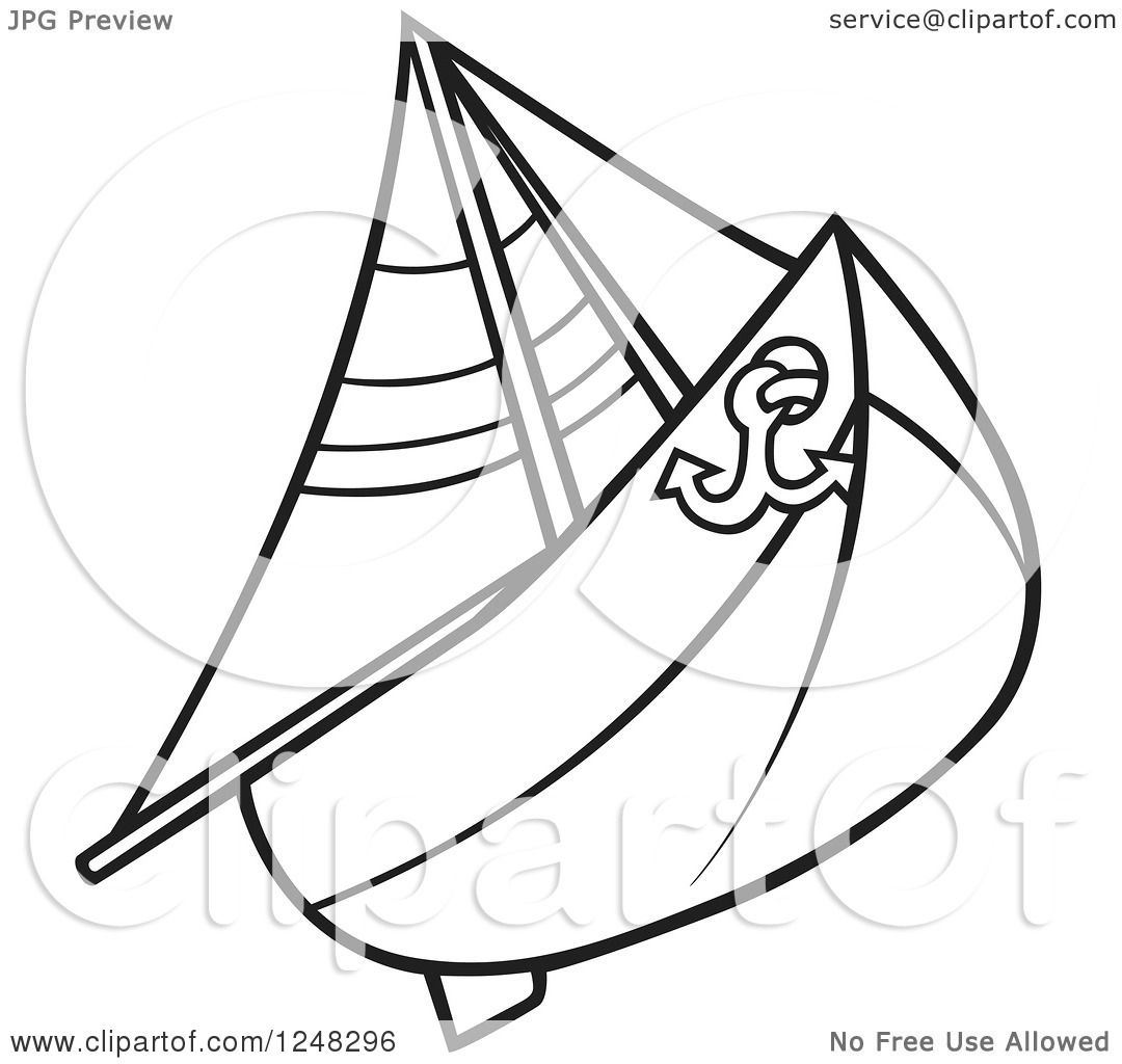 Clipart Of A Black And White Sail Boat