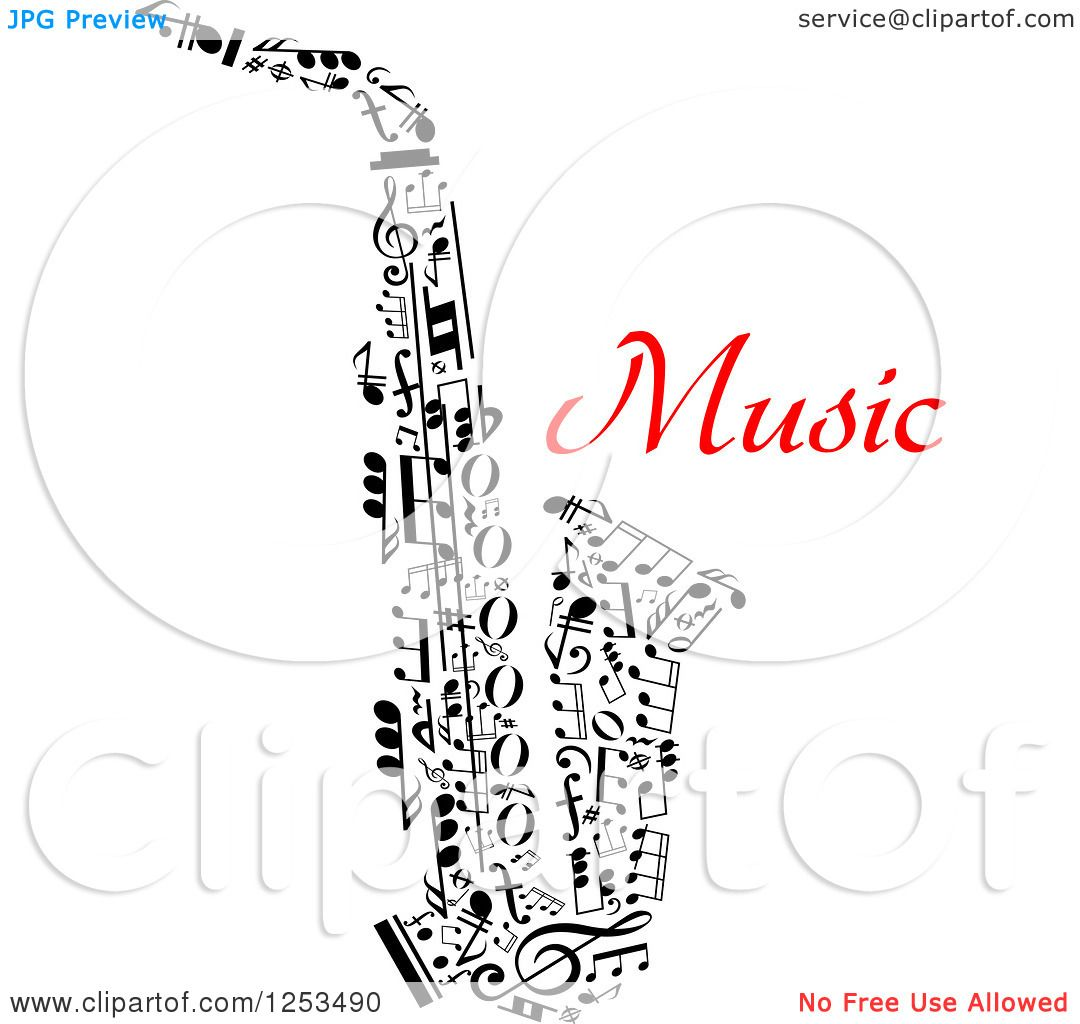 Clipart Of A Black And White Saxophone Made Of Music Notes