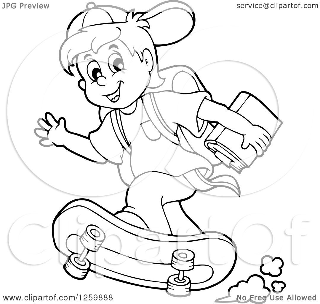 Clipart Of A Black And White School Boy Riding A