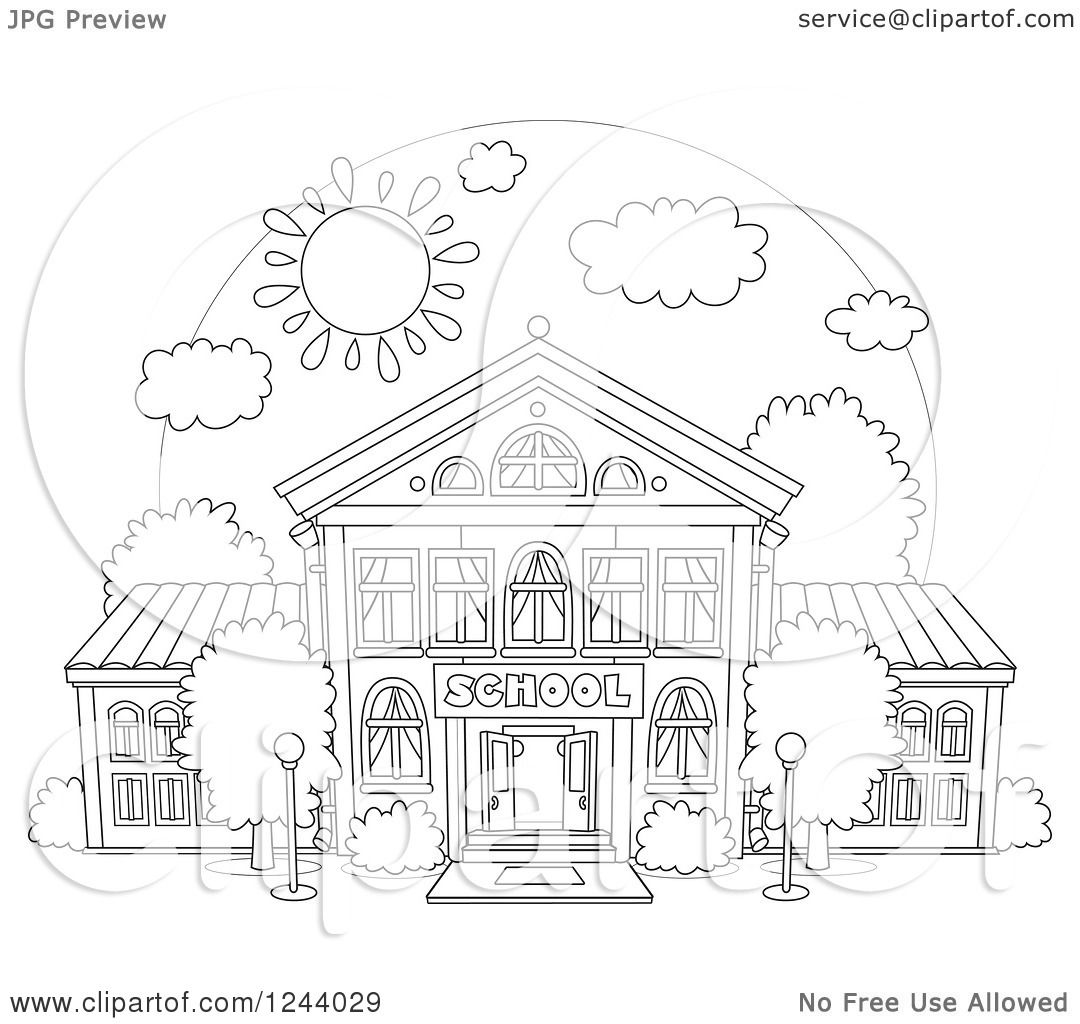 Clipart Of A Black And White School Building Facade On A