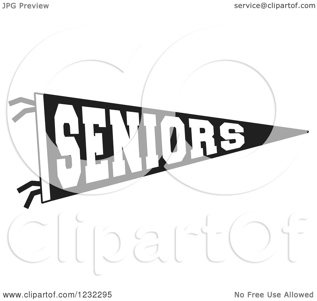 Clipart Of A Black And White Seniors Team Pennant Flag