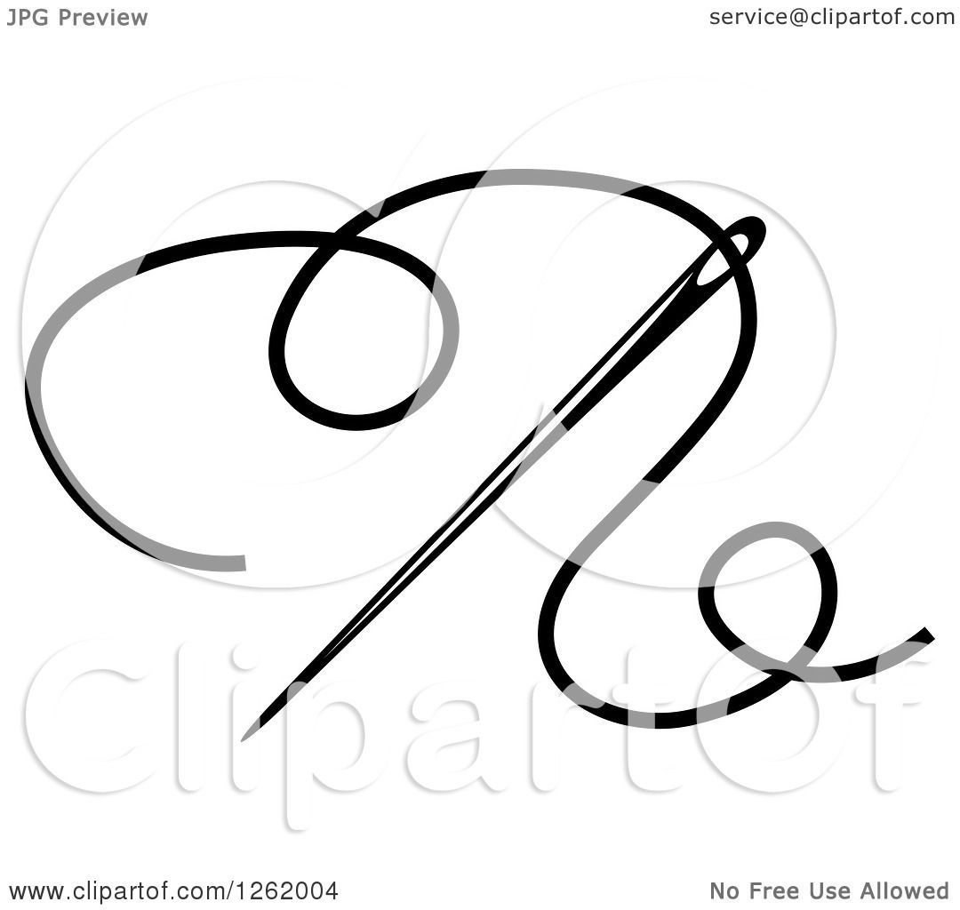 Clipart Of A Black And White Sewing Needle And Thread