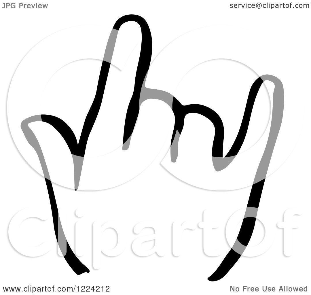 Clipart Of A Black And White Shaka Hand