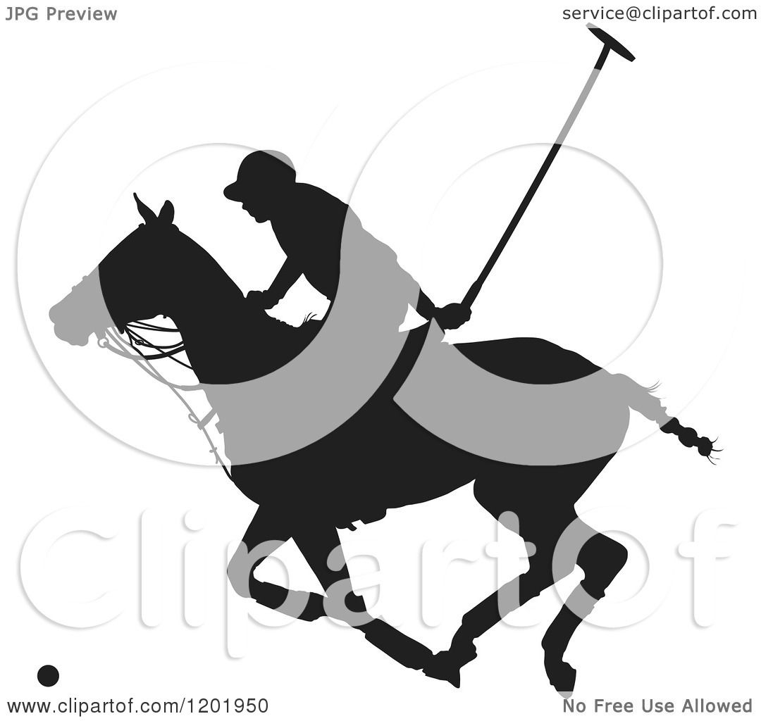 Clipart Of A Black And White Silhouetted Horseback Polo